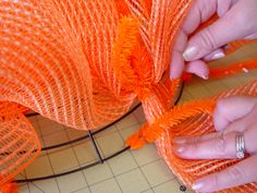 Halloween Wreath Tutorial using Metal Pumpkins, Orange Vertical Line Deco Poly Mesh, Black White Check Paper Mesh, Chevron and Polka Dot Ribbons and a new Orange Pencil Wreath in the non-metallic color. Pumpkin Mesh Wreaths, Deco Mesh Pumpkin, Mesh Ribbon Wreaths, Fall Mesh Wreaths, Halloween Mesh Wreaths, Halloween Ribbon, Deco Mesh Wreaths, Halloween Canvas, Halloween Ideas