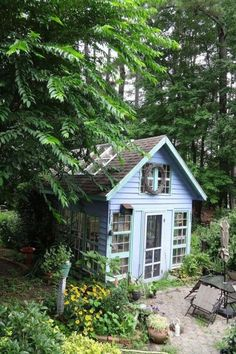 14 Whimsical Garden Shed Designs - Storage Shed Plans & Pictures - Old Windows to Grand Greenhouse - Treehouse - House Exterior Wood Shed Plans, Diy Shed Plans, Storage Shed Plans, Diy Storage, Garage Plans, Backyard Sheds, Garden Sheds, Potting Sheds, Potting Benches