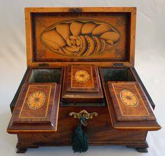English George III inlaid mahagany triple tea caddy. - Gavin Douglas Antiques