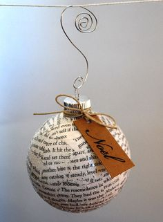 Upcycled Book Pages Holiday Ornament by upcyclingthegift on Etsy, $13.00