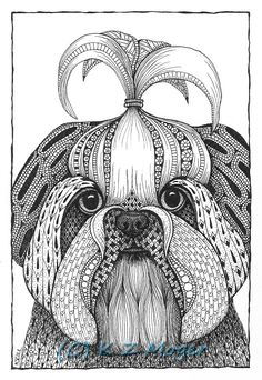 Small Breed Dog Portraits- matted print of original drawing- select small breeds Mandala Art Lesson, Mandala Drawing, Zentangle Drawings, Zentangle Patterns, Zentangles, Zentangle Animal, Dog Coloring Page, Adult Coloring Pages, Colouring
