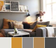 Get living room color ideas and spring decorating ideas with these pictures of decor for spring living rooms. Add interest to your living room with a fresh paint color. Browse our living room color… Mustard Living Rooms, Grey And Yellow Living Room, Grey Bedroom With Pop Of Color, Living Room Ideas With Grey Walls, Living Room Decor Grey Sofa, Grey Sofa Decor, Yellow Couch, Yellow Walls, Living Pequeños