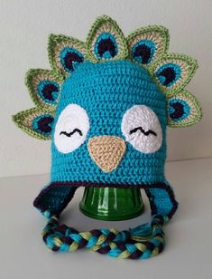 Crochet Peacock Bird Animal Hat