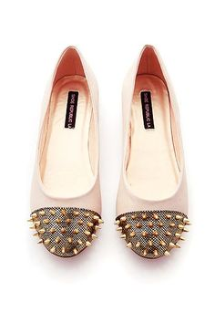 Pink Spike Ladies Flat Shoes - Rivet Ladies Flat Shoes