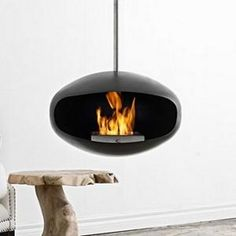 aeris stainless steel hanging fireplace by cocoon fires