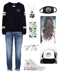 """""""KPOP - BTS Outfit"""" by valerieyang2001 ❤ liked on Polyvore featuring moda, Converse y Retrò"""
