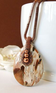 Jasper Wire Wrap Pendant Earth Tone Wire Weave by BellaDivaBeads Wire Wrapped Necklace, Wire Wrapped Pendant, Metal Jewelry, Jewlery, Handmade Gifts For Her, Wire Weaving, Handmade Copper, Beads And Wire, Diy Jewelry Making
