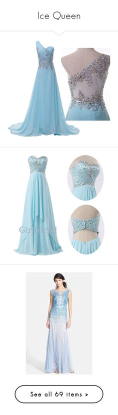 """Ice Queen"" by rzdubrawsky ❤ liked on Polyvore featuring dresses, gowns, vestidos, blue, blue dress, long dresses, long prom gowns, long blue evening dress, long evening dresses and robe"