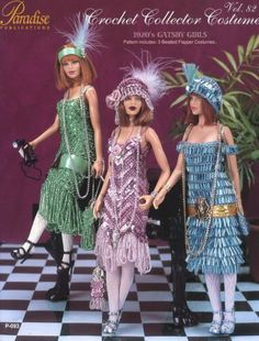 1920's Gatsby Girls Outfits for Barbie Paradise Vol 82 Crochet PATTERN NEW