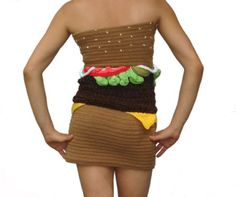 Check out this hamburger dress by Joy Kampia that has been crocheted | Ripley's Believe It or Not!