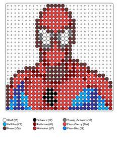 Spiderman Bügelperlen Vorlage - perler bead pattern