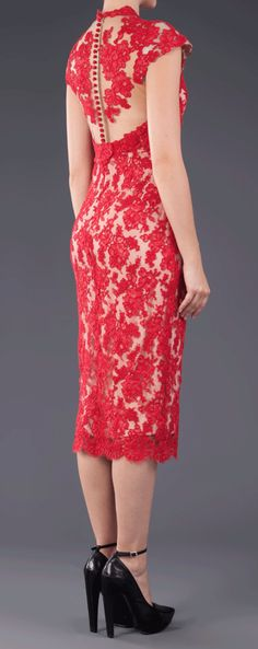 Red lace pencil dress soo pretty!!  I think this would look great on you @Brittney Anderson Johnson