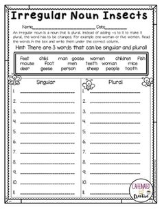 After reading each word, students will put the words under the correct column. Is the word singular or plural (making it an irregular noun). Part of a Spring Literacy and Math No Prep Bundle for Second Grade. Irregular Plural Nouns Worksheet, Singular And Plural Nouns, Irregular Plurals, Plurals Worksheets, Money Worksheets, Grammar Lessons, Grammar Activities, Classroom Activities, Nouns Exercises