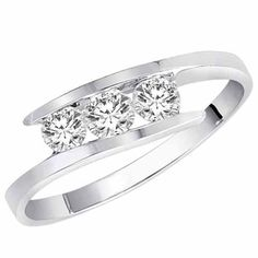 14K White Gold 3 Stone Channel Set Round Diamond Ring (1/2 cttw, H-I, SI) - Size 6: Jewelry: Amazon.com  My fav ring. Round Diamond Ring, Round Diamonds, 3 Stone Rings, Pearl Ring, White Gold Rings, Channel, Wedding Planning, Bing Images, Pearl Rings
