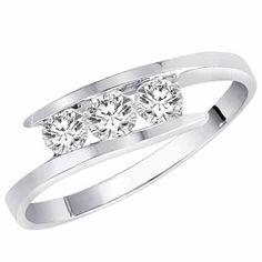 Amazon.com: 14K White Gold 3 Stone Channel Set Round Diamond Ring (1/2 cttw, H-I, SI) - Size 8: DivaDiamonds: Jewelry