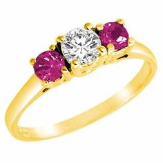 DivaDiamonds 18K Gold Round 3 Stone Diamond and Pink Sapphire Accented Ring (0.95 ctw) DivaDiamonds. $748.50