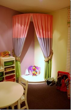 Stage for little girls playroom, color blocked panels. This is sweet. I know my little sister would love it. Playroom Stage, Kids Stage, Playroom Design, Playroom Decor, Playroom Ideas, Playroom Curtains, Stage Curtains, Little Girls Playroom, Kids Room