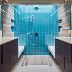 Beautiful Contrast In This Shower Featuring Villi Gl Tile