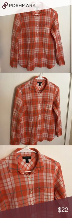 J. Crew Popover Orange white and blue plaid popover in size 4. Great piece for spring and summer. J. Crew Tops Button Down Shirts