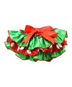 Dress Up Dreams Boutique Satin Ruffle Holiday Red & Green Bloomers - Infant by Dress Up Dreams Boutique #zulily #zulilyfinds