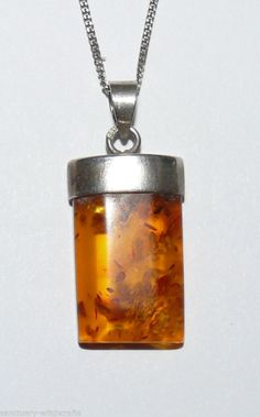 Beautiful Sterling Silver & Baltic Amber Pendant & Chain.