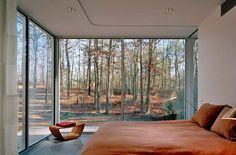 Orange Bedding Sets and Glass Wall Design in Modern Bedroom Decorating Ideas