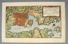[MAP - JAPAN] DHEULLAND, (Geuillhaume). PLAN DU PORT ET DE LA VILLE DE NANGASAKI. Hand-colored engraved map of the harbor at Nagasaki, centered on the island built for the Dutch concession, Deshima. The design is based on the map created by Kaempfer for his History of Japan. Printed circa 1760-70.
