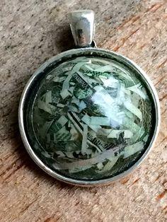 Real Money Jewelry - Dirty Santa - Money Pendant - White Elephant - Christmas Gift For Her - Fed Shreds - Money Necklace - Shredded Money