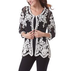 Simply Couture Black & White Crochet Cardigan