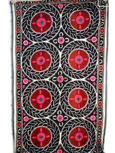 Antique Uzbekistani hand woven cotton suzani, traditionally gifted as a dowry
