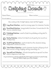 Parent volunteer form (and some other parent papers)