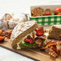 Running out of ideas for some delicious homemade snack? 💪 Bake your own bread in Remoska® and fill it with a dressing, bacon, tomatoes and salad. We Got It, Tomatoes, Bacon, Fill, Sandwiches, Dressing, Salad, Homemade, Snacks