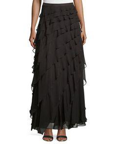 TD52R Haute Hippie Layered-Ruffle Long Skirt, Dark Graphite