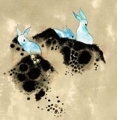 Raquel Aparicio Print Art Illustration Watercolour Ink paint Bunnies Otters