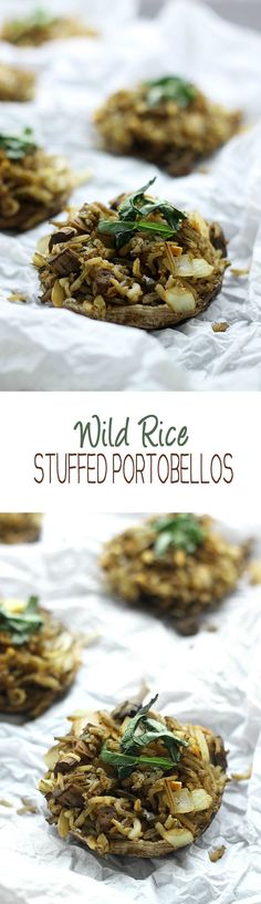 Wild Rice Stuffed Portobellos - a healthy appetizer or side dish full of flavor and nutrition. Wild Rice Stuffed Portobellos - a healthy appetizer or side dish full of flavor and nutrition. Side Dish Recipes, Veggie Recipes, Whole Food Recipes, Vegetarian Recipes, Cooking Recipes, Healthy Recipes, Hamburger Recipes, Vegetarian Barbecue, Barbecue Recipes