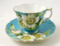 Aynsley Blue Tea Cup and Saucer with White Dogwood by TheAcreage