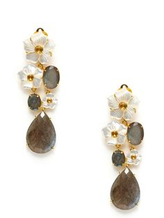 Bounkit, Carved Mother Of Pearl Floral Drop Earrings -  carved mother of pearl, labradorite, and citrine removable drop details