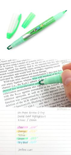 The Uni Propus Q-Dry dries in one third the time of a typical highlighter, minimizing the chance of smudging on hands and paper—even on semi-glossy textbook pages! Its versatile, double-sided design incorporates a broad, 4 mm windowed chisel tip for highlighting blocks of text on one end and a fine, 0.6 mm tip for writing and underlining on the other end.