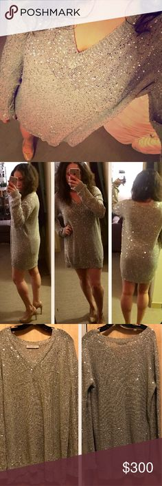 """Stella McCartney Sequin Sweater Dress LOVE this stunning dress!  It does have signs of wear - some pulls/snags. Please see other post with additional pics. Definitely not trying to deceive anyone about it's condition! Still looks beautiful! ✨  75% cotton, 25% polyester, made in Italy, Approx. Measurements: length 30"""", width 20"""", sleeve length 31.5 (measured collar to bottom of wrist). I'm 5'2, 130 lbs, D cup. Flattering & comfy to wear! Stella McCartney Dresses"""