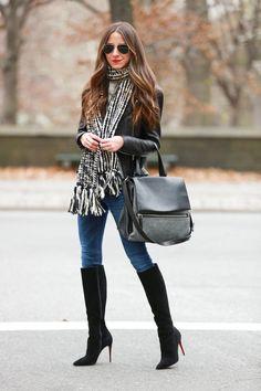 Jacket: Veda | Jeans: Rag & Bone | Shoes: Christian Louboutin | Bag: Givenchy | Scarf: Armani Exchange | Sunnies: Ray Ban | Lipstick: MAC