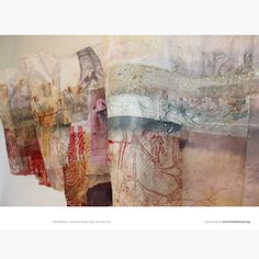 Cas Holmes, Autumn Verge, 200 x 60 Art Fibres Textiles, Textile Fiber Art, Textile Artists, Cas Holmes, Fabric Art, Printmaking, Machine Embroidery, Art Projects, Drawings