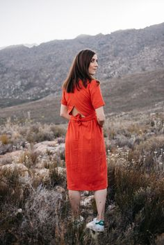 About Clothing - Marti dress made from Burnt Orange Rayon Linen. 3/4 dress with open back and waistband. Most Comfortable Bra, Burnt Orange, Dress Making, Casual Looks, High Neck Dress, Shirt Dress, Formal, Clothing, Fabric