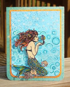 love how Smooch was used for coloring in this Stampendous Mermaid cling    source: Clearsnap: Perfectly Pearly Mermaid (june 23, 2012)