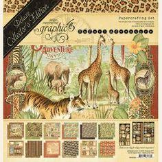Safari Adventure Deluxe Collector's Edition Graphic 45, Scrapbook Supplies, Scrapbook Paper, Vintage Scrapbook, Craft Supplies, Red Architecture, Travel Album, Safari Adventure, Stencil