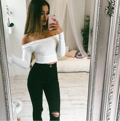top girl girly girly wishlist white cute crop crop tops cropped tumblr instagram long sleeves off the shoulder off the shoulder top outfit outfit idea