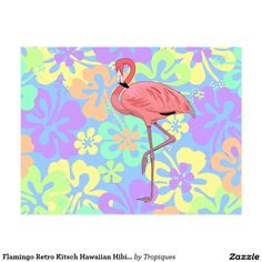 Flamingo Retro Kitsch Hawaiian Hibiscus Flowers fun snail mail Postcard