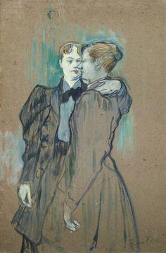 "thunderstruck9: "" Henri de Toulouse-Lautrec (French, 1864-1901), Deux femmes valsant [Two women waltzing], 1894. Oil on board, 60 x 39.4 cm. """
