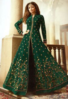 7599dcbd6e8 Embroidered Georgette Abaya Style Suit in Teal Green Indian Wedding Gowns