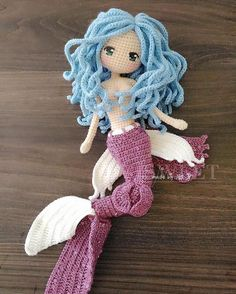 Handmade by 🌸 Crochet Amigurumi, Crochet Doll Pattern, Amigurumi Patterns, Amigurumi Doll, Doll Patterns, Crochet Toys, Crochet Patterns, Crochet Mermaid, Mermaid Diy
