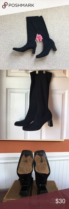 💕Anne Klein Black Boots 💕 💕 Late 90's Anne Klein Black Stretch Boots. Stretchy fitted in calves. 2 1/4 heel. Very good condition. Only worn 2 times. 💕 super Comfy! Anne Klein Shoes Heeled Boots